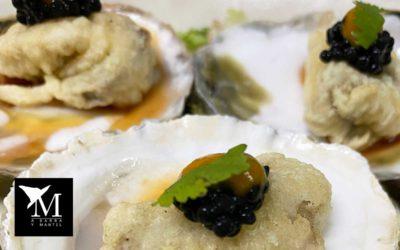 Ostra gallega en tempura con ají amarillo y clamato de martinete