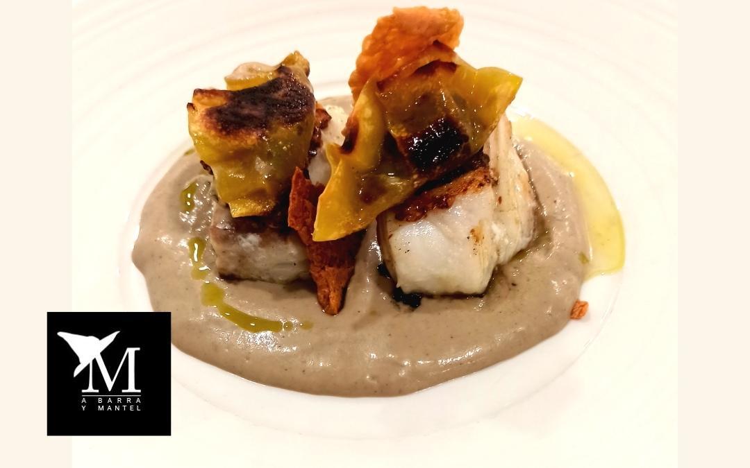 Merluza gallega, gazpachuelo de gurumelos y gyoza de trigueros y manzanilla